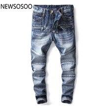 6d4cd208c68ac Avrupa Amerikan Tarzı moda marka tasarımcısı erkekler jeans lüks erkek  denim pantolon Ince Düz pop mavi beyefendi kot