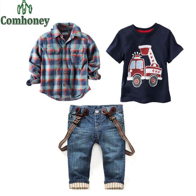 Criança Set Roupas Meninos Primavera Carro Dos Desenhos Animados Manga Longa Camisa Xadrez + T-shirt + Calça Jeans 3 pcs Bebê menino Casual Denim Geral Pant Suit
