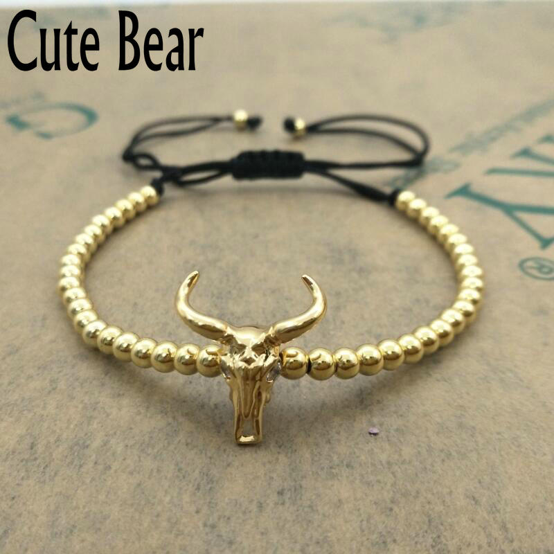 Wholesale Cute Bear Brand Men Bracelet High Quality Vacuum Plating Color Preserving 4mm Copper Beads Cow Head Bracelets Jewelry