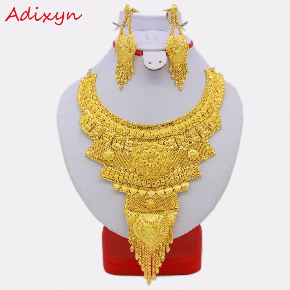 Adixyn большой Размеры Эфиопский Цепочки и ожерелья/Серьги комплект ювелирных изделий для Для женщин Обувь для девочек золото Цвет Мода арабс