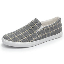 Men Canvas Shoes 2019 Fashion Designer Sneakers Plaid Vulcanized Slip on Casual Flat