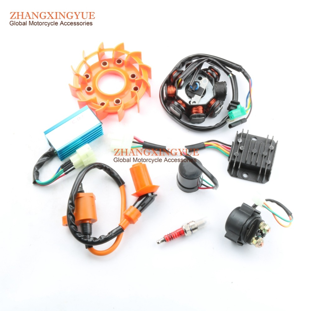 Coil & Modified Fan & 5 Large Electric & Spark Plug for GY6 125cc 150cc 152QMI 157QMJ cyt motorcycle gy6 dc electric igniter ignition spark black red