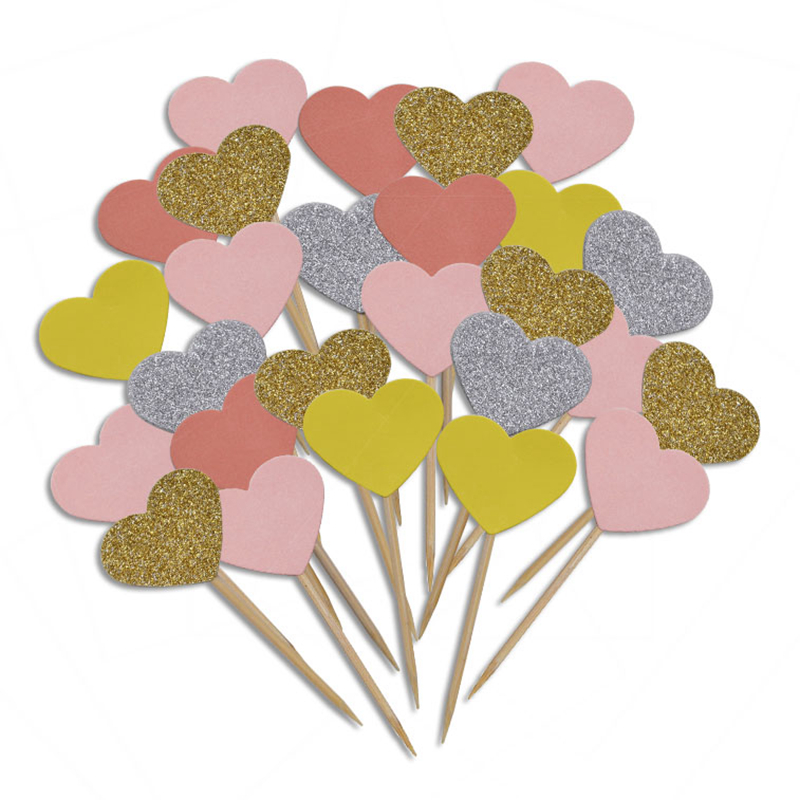 20 peças/lote artesanal adorável rosa coração cupcake toppers bolo festa de aniversário suprimentos festa de casamento decoração