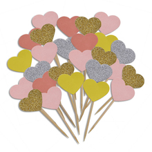 20 Pieces/Lot Handmade Lovely Pink Heart Cupcake Toppers Cake Party Supplies Birthday Wedding Decoration