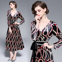 Europe and the United States women's clothing foreign trade dress velour printing large pendulum dress