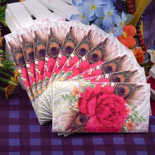 Creative Gifts Small Napkin Paper Tissue Printed Pea Tail Flower Red Lips Handkerchief Wedding Serviette Birthday