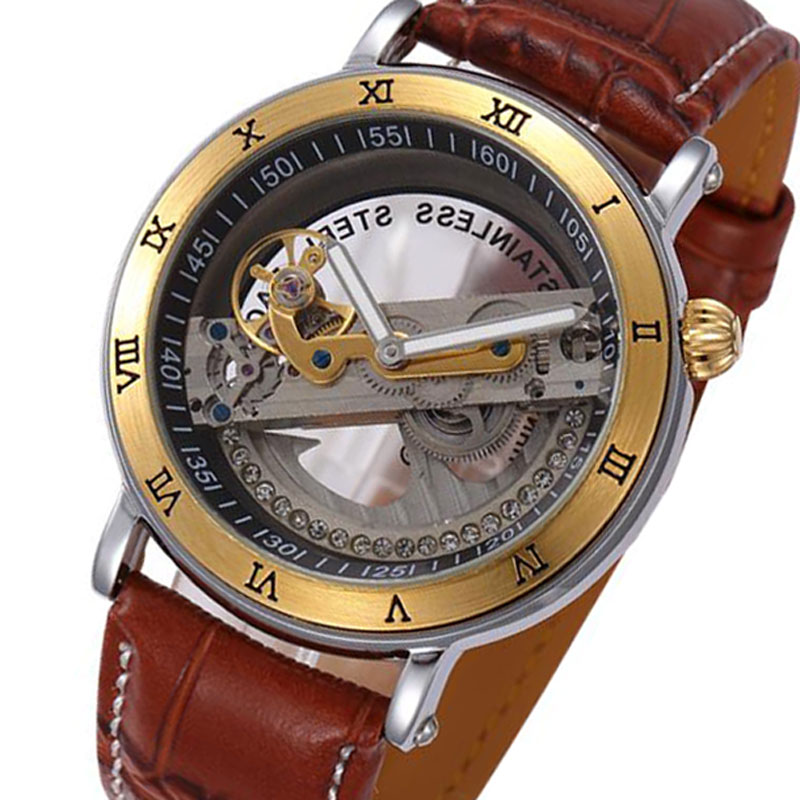 Punk Gold Case Transparent Skeleton Crystal Inlaid Men Automatic Mechanical Brown Leather Strap Band WristWatch MensPunk Gold Case Transparent Skeleton Crystal Inlaid Men Automatic Mechanical Brown Leather Strap Band WristWatch Mens