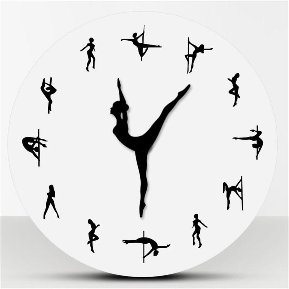 Pole Dancers Minimalist Design Modern Wall Clock Night Club Wall Decor Sexy Chick Dancing Strippers Decorative Clock Watch Gift