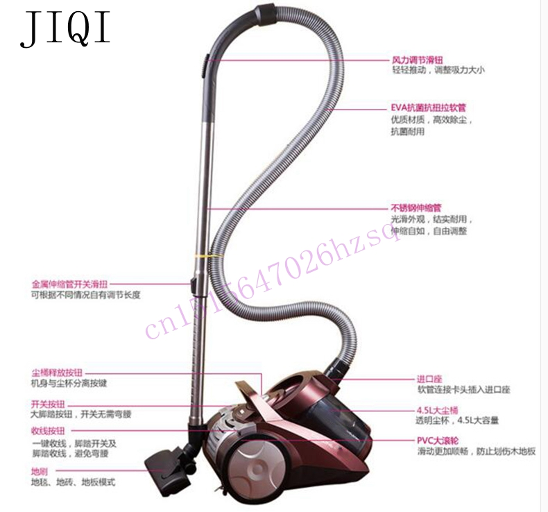 JIQI Vacuum cleaner Strong large power vacuum cleaner household silent no consumption Mini 4.5L 1600w jiqi vacuum cleaner household handheld wet and dry blow large power ultra strong silent barrel type 15l large capacity