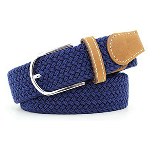 SYB 2016 NEW Unisex Men Women Stretch Braided Elastic Leather Buckle Belt Waistband Dark Blue