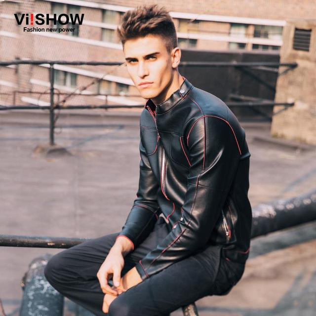 Viishow Motorcycle Leather Jackets Men Collar Men's Jacket Casual Leather Slim Fit Winter Pu Jacket Men Coat D119153