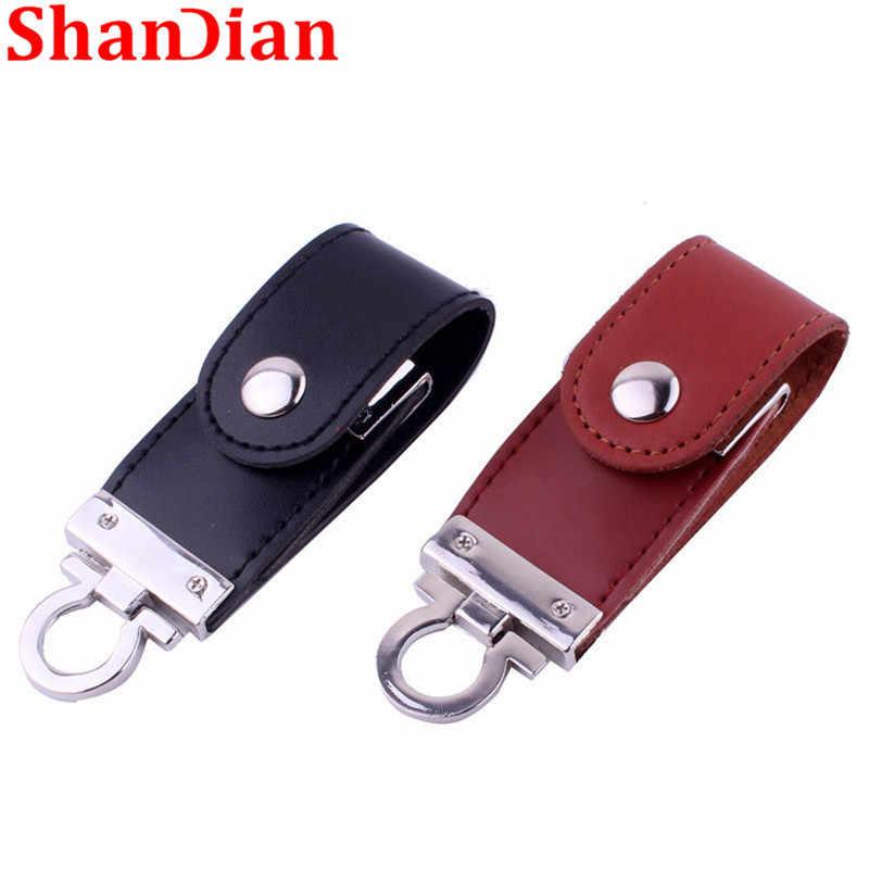 SHANDIAN atacado pele de couro usb flash drive pen drive chaveiro 4gb gb gb 32 16 8gb usb 2.0 moda de memória disco U