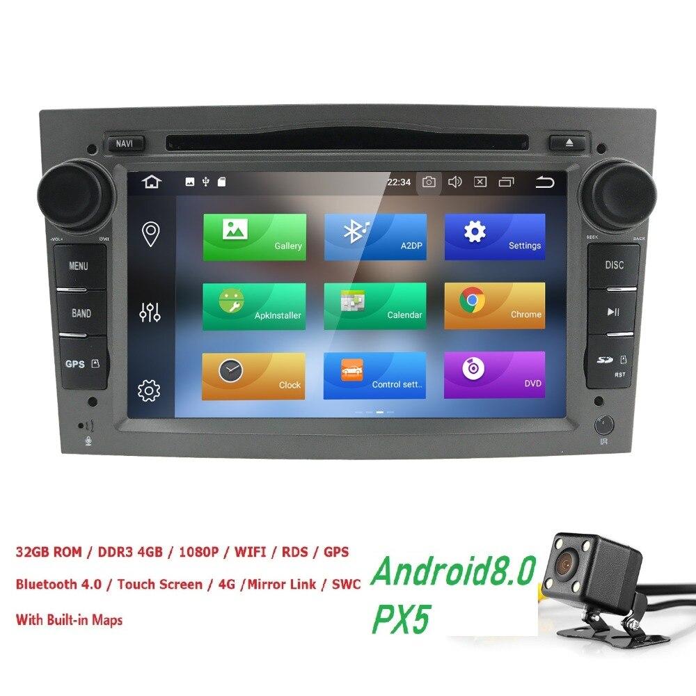 2DIN Android8.0 4G RAM 32G ROM Octa Core de Dvd Do Carro Para Opel Astra H Corsa Vectra Zafira B C G GPS Radio stereo WIFI DVR OBD