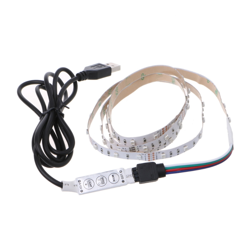 5V 3528 RGB USB 30 LED/m Non Waterproof Flexible Strip Light TV Back Lighting Kit+3 Key RGB Controllert22