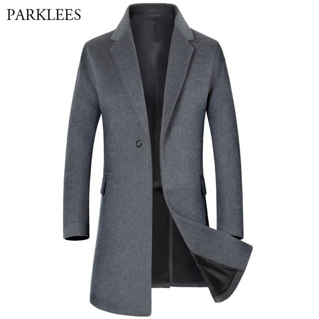 966a14f8856 Long Wool Trench Coat Men 2017 Winter Men s Trench Coats Single Breasted  Mens Windbreaker Overcoat Slim