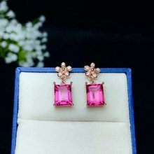 shilovem 925 silver sterling Stud Earrings natural topaz pink woman trendy fine new plant party  gift Jewelry be081009agfb