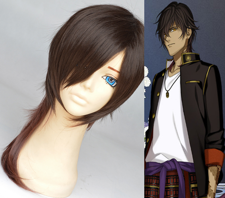 50cm Ookurikara Touken Ranbu black red gradual Cosplay wigs synthetic hair anime Halloween party harujuku peluca cos