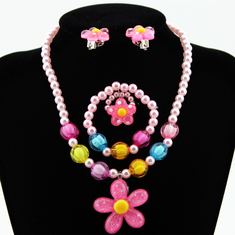 4pcs Lovely Girl Kids Sun Flower Necklace Bracelet Rings Earclip Imitation Pearls Flower Children Sets  LL@17