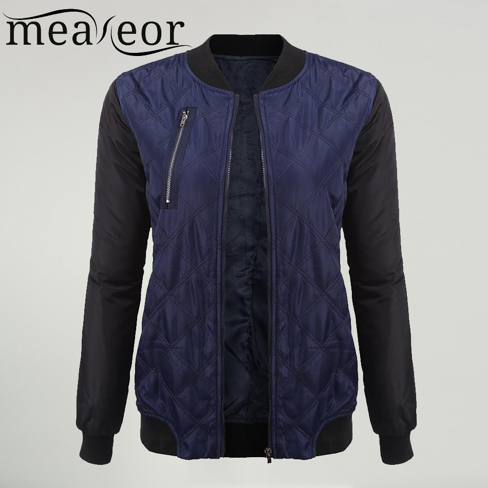 Meaneor Women Casual   Jacket   Stand Collar Long Sleeve   Basic     Jackets   Plaid Loose Zipper Autumn Winter Outwear windproof coldproof