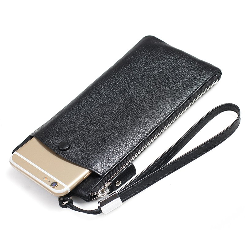 Buy Genuine Leather Universal Wallet Purse Pouch Cover Case for iPhone 7 6 6S 5S 5 SE 5C / 6 6S 7 Plus W/ Carry Strap for Huawei