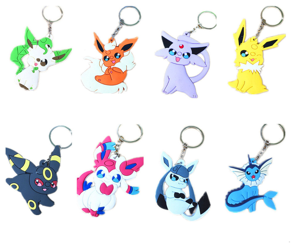Pokemon PVC Keychain Eevee Vaporeon Jolteon Flareon Espeon Umbreon Leafeon Glaceon Sylveon Pendants With Key Ring In Chains From Jewelry Accessories
