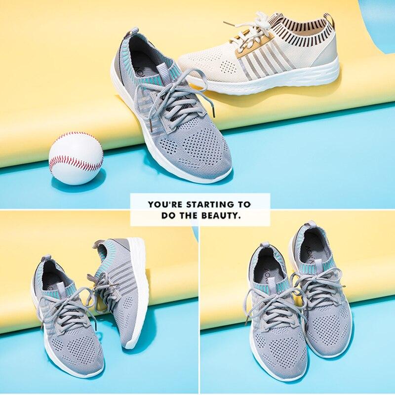 Aokang Mode Schoenen Vrouw Sneakers Fly Gebreide Voor Vrouwen Trainers Platform Schoenen Wedge Air Mesh Ademende Dames Casual Schoenen - 6