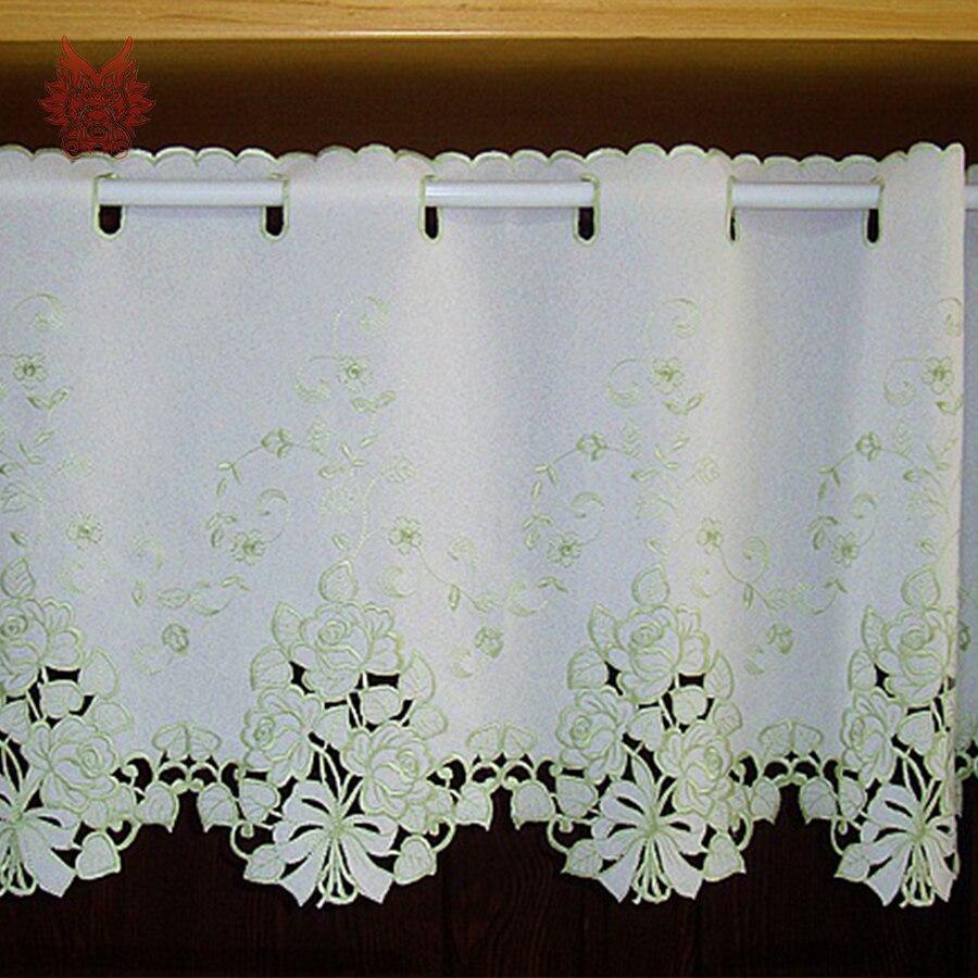 Pastoralen stil creme weiß mit green floral stickerei half vorhang ...