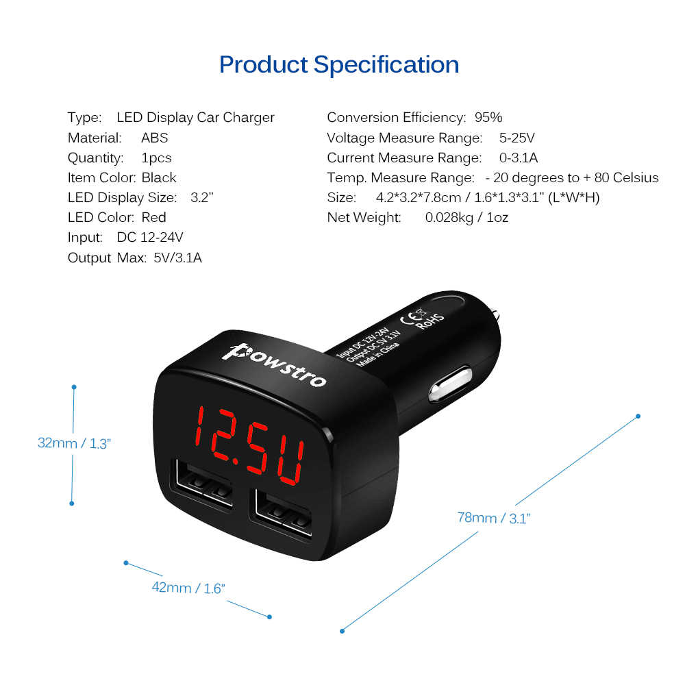 Powstro Dual USB Car Charger 5V 3.1A fast Charge LED Display Cigarette Lighter Phone Adapter Car Voltage Diagnostic for mobile