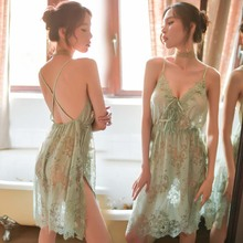 7Colors Women Nightdress Temptation Side Split Nightgown Sexy Lingerie Suspender Sheer Lace Embroidery Night Sleep Dress