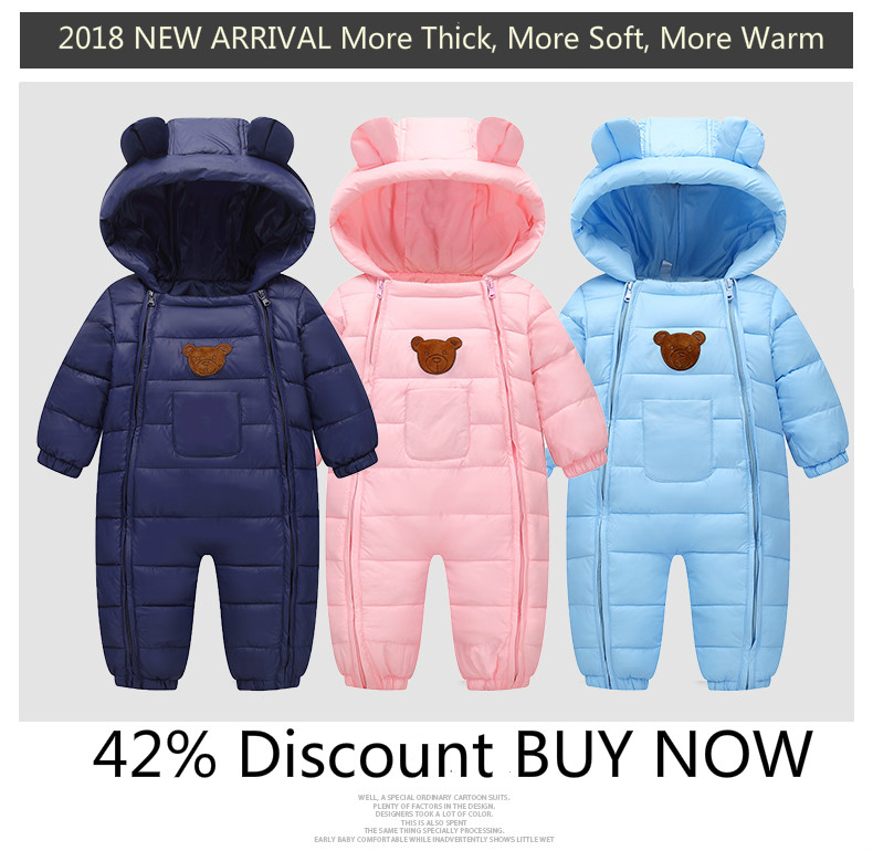 17d2828af20a 2018 Snowsuit Baby Snow wear Cotton Padded One Piece Warm Outerwear ...
