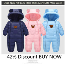 2018 Snowsuit Child Snow put on Cotton Padded One Piece Heat Outerwear Child's Overalls Romper Children Winter Jumpsuit New child Parkas