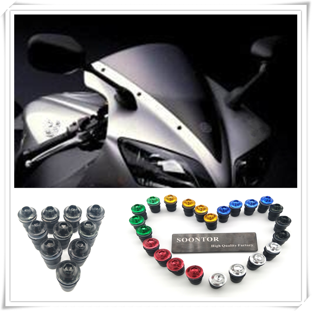 motorcycle Windshield Windscreen Fastener Spike Bolts kit Screw Nuts for YAMAHA 600 FZR HONDA CB919 CBR 600 FZ400 R FZX700 FAZE