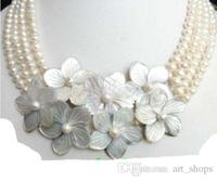 Jewelry 4row White pearl flower shell Necklace
