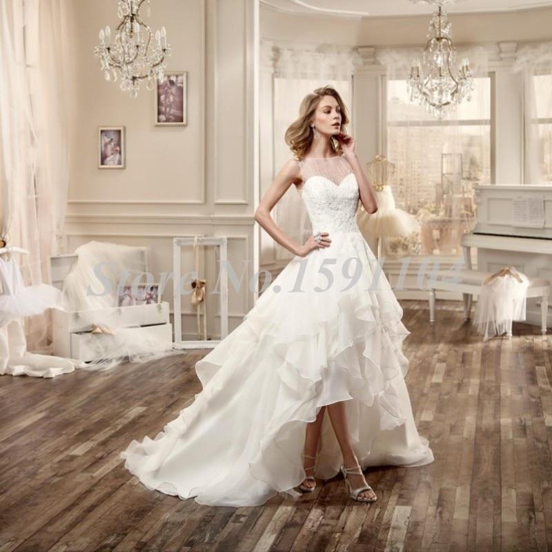 New Design High Low Asymmetrical Wedding Dress Sheer Neck Sleeveless ...