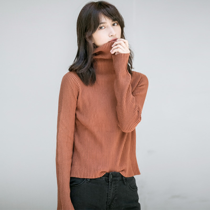 2017 Fall New Fashion Women Sweater Elastic Solid Color Turtleneck Keep Warm Sweater Women Slim Fit Knitted Sweather Ma230