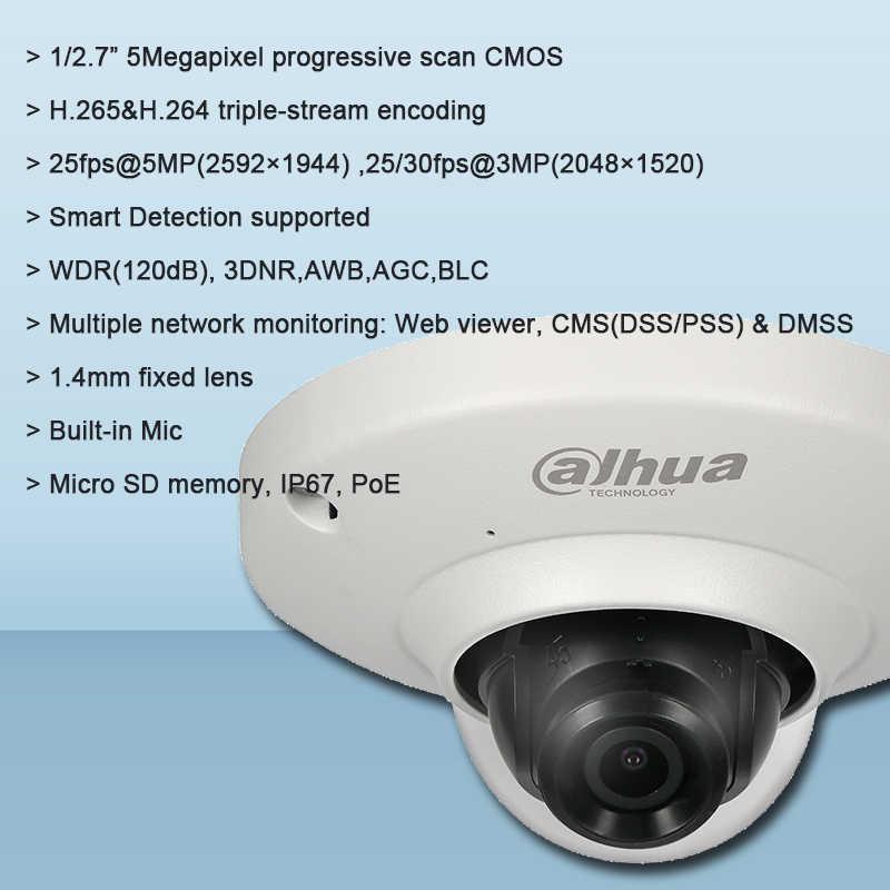 Original Dahua IPC-EB5531 5MP Panoramic Network Fisheye H 265&H 264  triple-stream encoding and Camera Smart Detection supported
