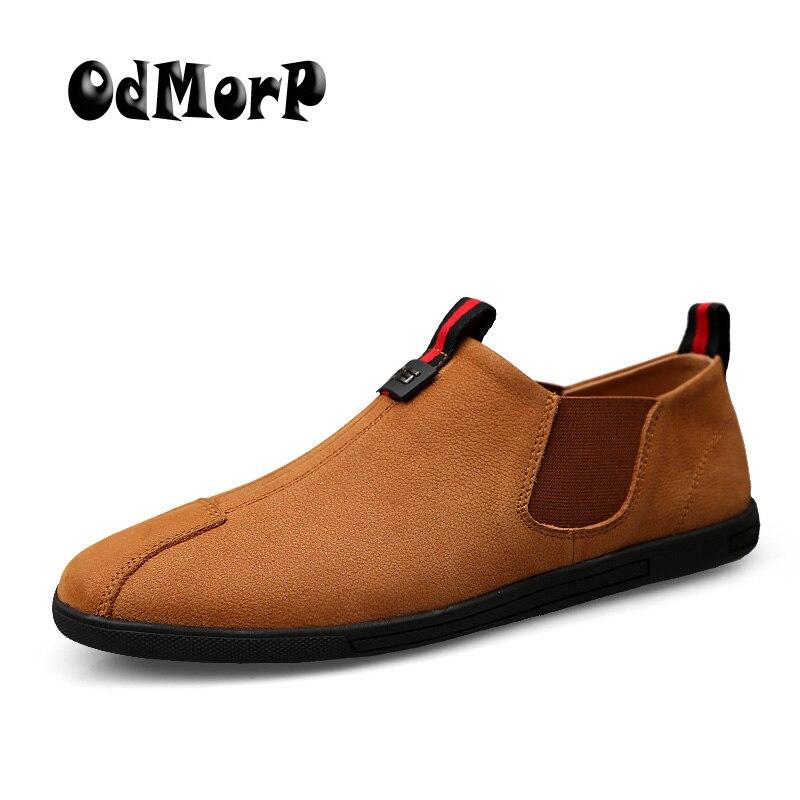 ODMORP Handmade Homens Sapatos Sapatos de Couro Genuíno Deslizamento Em Loafers Mocassim Sapatos Casuais Tamanho Grande 38-47 Confortáveis Macio Apartamentos dos homens