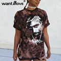 Wantmove t shirt women print shirt dress 2017 sexy holes 2pac hip-hop short sleeve t-shirt femme tops plus size clothing XD007