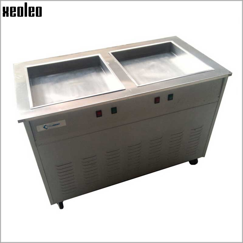 Xeoleo Commercial Frid Ice Cream Machine Double Square Pans 50*50cm/2cm  Stainless Steel Roll Ice Cream Machine xeoleo commercial induction 3500w stainless steel induction cookers with timing for hotpot soup stewing stir fly