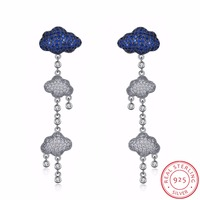 INALIS New Fine Jewelry S925 Sterling Silver Earring Cubic Zirconia Long Tassel Three Clouds Rain Design
