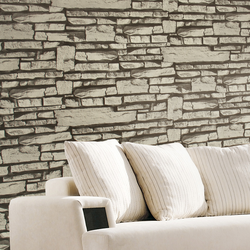 Haokhome 3d modern faux brick wallpaper lt grey black textured realistic stone rolls living room bedroom home wall decoration in wallpapers from home