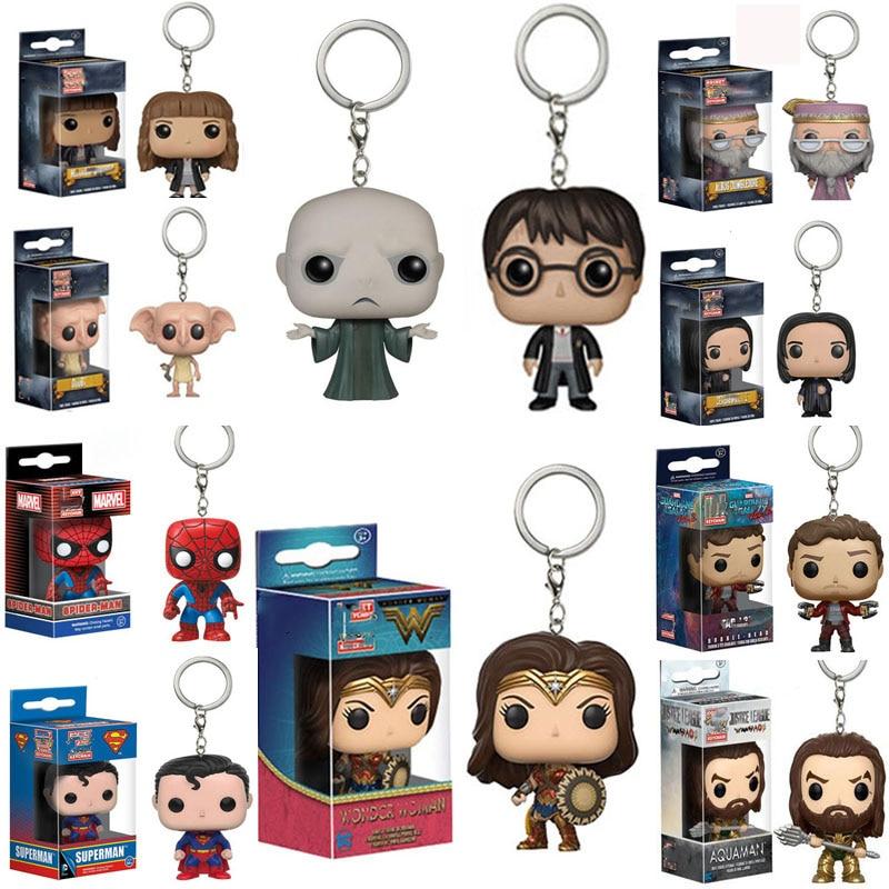 POP Harri Potter Keychian Spider-man HULK Marvel Avengers Star-Lord DC Wonder Woman Dobby Hermione Keychain Collection Gift Toys