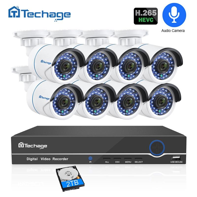 H.265 8CH 1080 P POE NVR CCTV Sistema di Sicurezza di Registrazione Audio 2MP Esterna Impermeabile IP Della Macchina Fotografica di IR di Notte P2P Video kit di sorveglianza