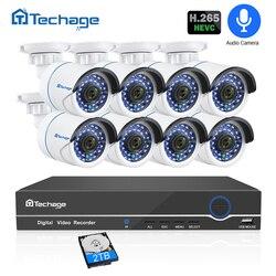 H.265 8CH 1080 P POE NVR CCTV, sistema de seguridad con Audio, registro 2MP impermeable al aire libre cámara IP IR noche P2P Video kit de vigilancia de