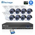 H.265 Cámara sistema de seguridad 8CH 1080 P POE NVR Kit 2.0MP registro de Audio IR-CUT cámara CCTV IP P2P Video al aire libre vigilancia Conjunto