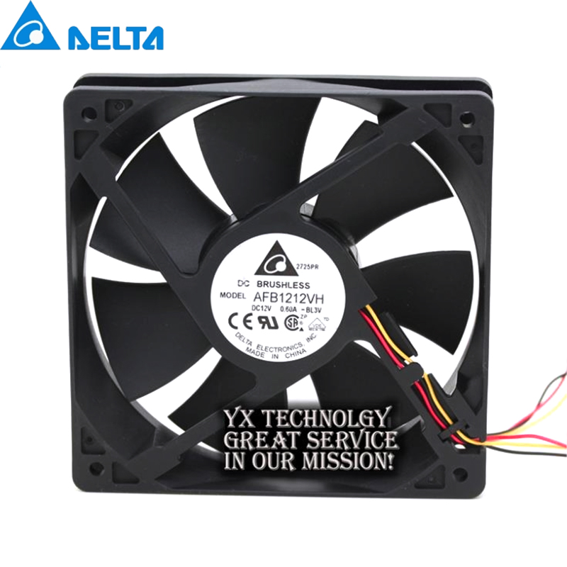 Delta New and Original AFB1212VH BL3V 12025 12V 0.60A 3lines dedicated fan for  120*120*25mm-in Fans & Cooling from Computer & Office