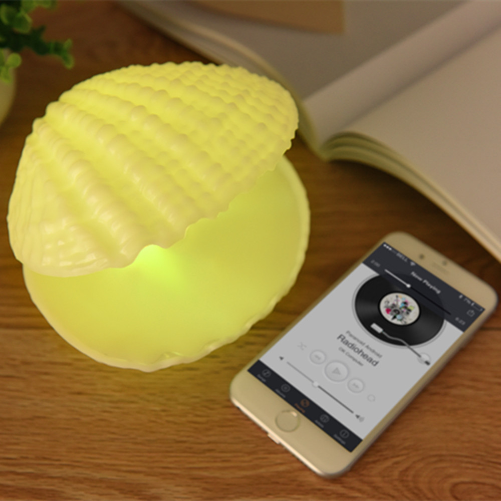 YIYANG 7 Colors LED Music Night Light Shell Wireless Bluetooth Player Sound Speaker Valentine Day Rechargeable Home Bedroom Lamp