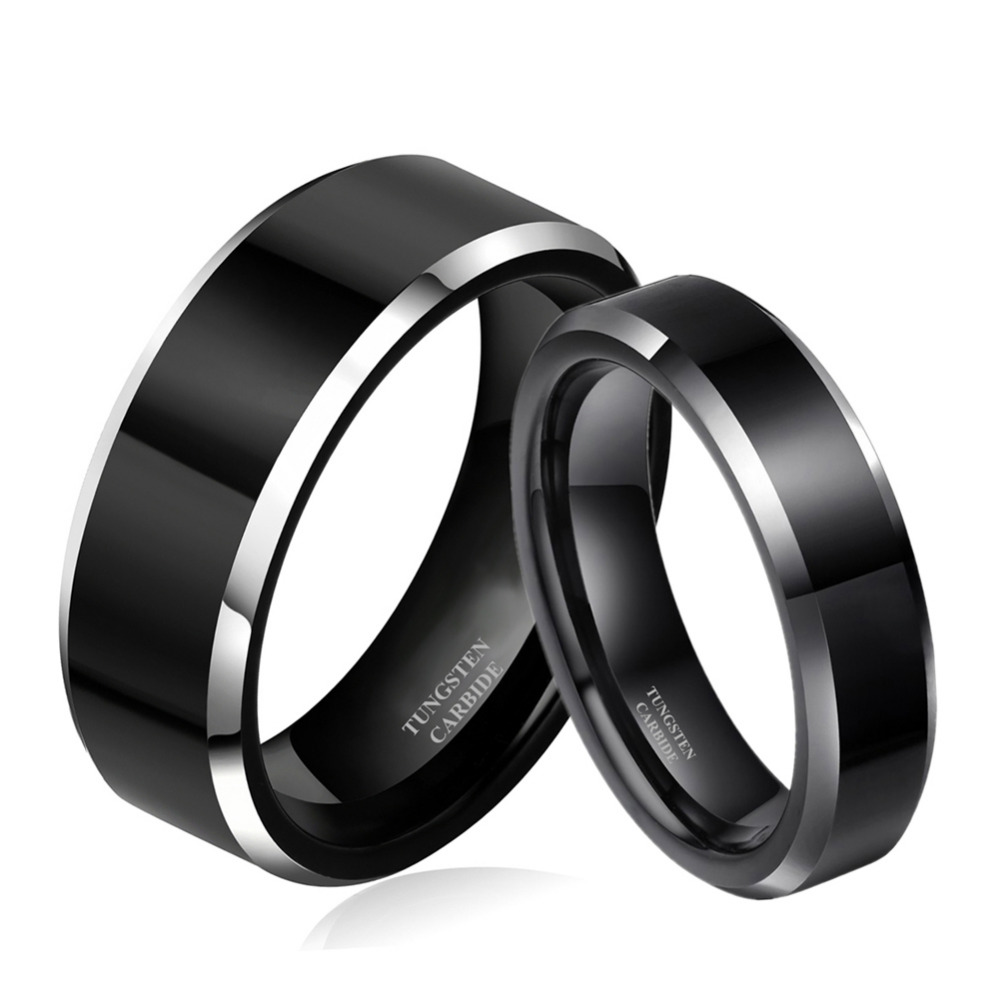 black wedding band sets black wedding band sets 4 Pc His Titanium Her Black Stainless Steel Wedding Engagement Ring Band Set