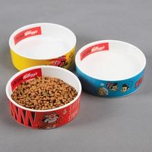 Pet Food Bowls Printed Ceramic Bowl Cute Cartoon Cat Puppy Universal Dog Feeders Storage Supplies
