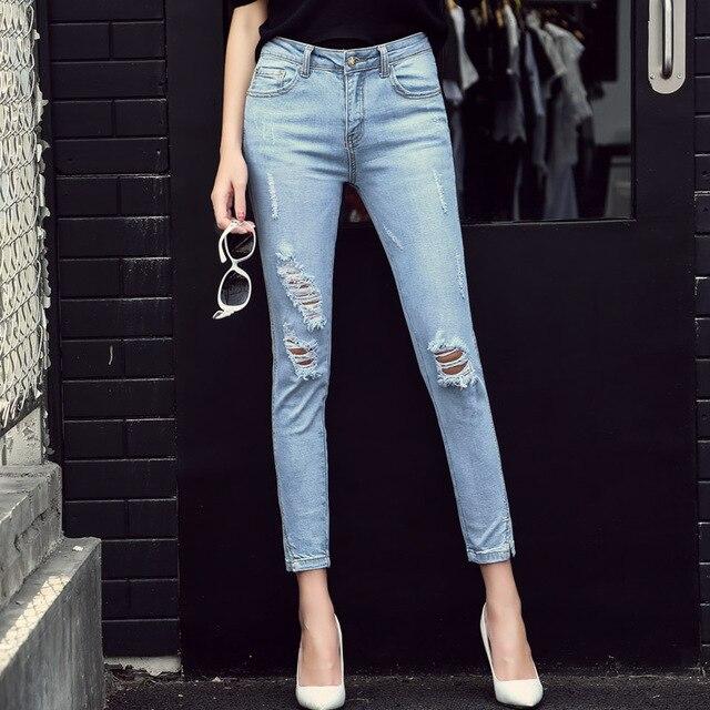 Mujeres la pérdida y los agujeros rallados Vaqueros Denim Slim alta cintura  tobillo-longitud Pantalones 705d44341717